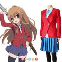 Wholesale Girls Blazers Skirts - Anime TIGER DRAGON Toradora Aisaka Taiga Cosplay Costume School Uniform for Girls(Blazer+Skirt+Tie))