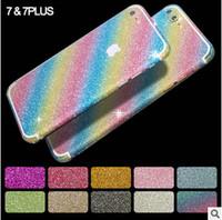 pele do lado do iphone venda por atacado-Luxo bling diamante adesivo brilho tampa da pele corpo inteiro brilhante frente verso para iphone 7 se 5s 6 6 s plus samsung s6 s7 borda com logotipo