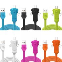 Wholesale C Rotation - Universal 3 in 1 flat noodle 360 Degree Rotation 1m 3ft micro type c usb cable for samsung htc android phone 6 7 8