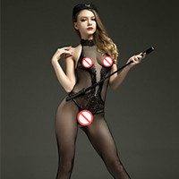 Wholesale Cute Sexy Sex - 2017 New fashion Crotchless Sex product lace transparent sexy leotard cross fishnet cute halter bodystocking body suits for women Bodysuit