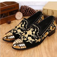 Wholesale Chinese Women Wedding Shoes - 2016 Luxury New Floral Embroidered Chinese Shoes Slip On Gold Metallic Mens Loafers Leather Wedding Shoes Flat Men Women Loafers