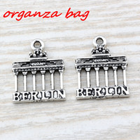 Wholesale Gate Slide - MIC 100pcs Ancient silver zinc alloy Brandenburg Gate Berlin Landmark Trip charm Pendants 18x 23.5mm DIY Jewelry A-105