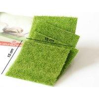 Wholesale Mini Flowers Diy - Artificial Fake Moss Decorative Lawn Micro Landscape Decoration DIY Mini Fairy Garden Simulation Plants Turf Green Grass 15x15cm Small Size
