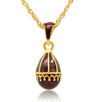Wholesale Faberge Egg Pendant - hand craft enamel elegant falling curtain pendant multiple crystal paved charm necklace Faberge Egg Pendant for Easter day