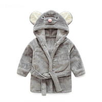 Wholesale girls tweed dress - Pajamas Baby Animal Plush Bathrobe Baby pc 1 boy girl soft velvet robe pajamas coral children dress baby clothes