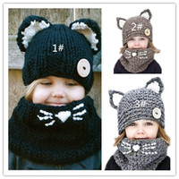 Wholesale Sun Hat Cat - 2017 quality new fox handmade children's cat wool hat scarf dual-use, children's winter warm knitted hat wholesale