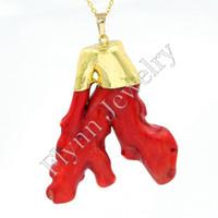mascote jóias venda por atacado-2016 banhado a ouro red coral mascote reiki pingente encantos amuleto europeu moda jóias diy mulheres homens presentes 10 pcs