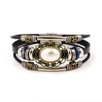Wholesale Vintage Pearl Clasps Wholesale - Hot National Wind Leather Bracelets for Women Latest Vintage White Pearl Beaded Leather Charm Bracelets Cowhide Cuff