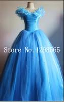 Wholesale Cinderella Costume For Women - Wholesale-Free Shipping Cinderella Princess 2016 Cinderella dress for women blue deluxe Cinderella cosplay costume girl wedding dress