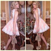 robes de soirée blanches en dentelle ouverte achat en gros de-2017 Nouveau Sexy Blush Rose Cocktail Robes Haut Cou Blanc De Dentelle Appliques Dos Ouvert Courte Mini Soirée Porter Robe De Soirée De Bal Robes De Soirée