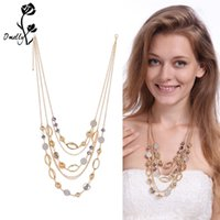 Wholesale cheap white gold necklaces - Statement Necklaces Mutil Layers Pendant Necklace Gold Filled Long Layer Charms Crystal Necklace Druzy Jewelry Wholesale in Bulk Cheap