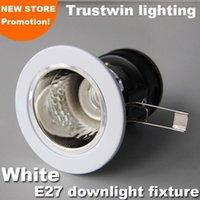 gömme led e27 toptan satış-Gömme beyaz güçlendirme kapalı açık seramik tavan edison LED downlight fikstür E26 E27 lamba ampul işık tutucu