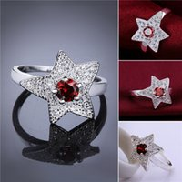 Wholesale Ruby Star Rings - Brand new 10 pieces 925 silver Five-pointed star ruby ring Free shipping GSSR551 Factory direct sale fashion sterling silver finger ring