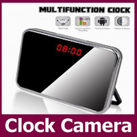 Wholesale 5MP HD P Hidden Camera Mirror Alarm Clock Video DVR Digital Recorder Motion Detection Remote Mini CCTV Camera