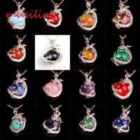 Wholesale European Super Fashion Necklace - Lapis Lazuli White Jade Ruby Natural Gem Stone Super Dragon Ball Bead Reiki Pendant Charms Amulet European Fashion Jewelry 17pcs Mix Order