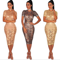 Wholesale Wholesale Nightclub Dresses - Women's 3 colors Knitted Dresses club Fashion party Clothing rose gold sexy Sheath mid-calf Hollow out dress nightclub skirt