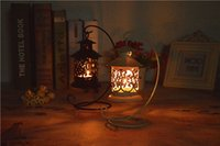 Wholesale Iron Morocco - 48pcs Morocco Vintage Classic Hanging Lantern Hollow Iron Candlestick Metal Candle Holder , Romantic Home Decoration Wedding Candelabra