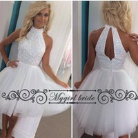 Wholesale Halter Knee Length Homecoming Dresses - Short homecoming dresses white with beaded top Knee Length Tulle Halter sexy Party Dresses New gowns