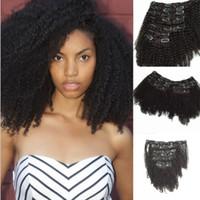 brasileña virgen afro rizado al por mayor-Nuevo estilo de la pinza de pelo de la virgen brasileña en la extensión de la armadura del pelo humano rizado afro rizado 7pcs / set extensión de 120 g