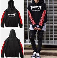 Wholesale tyga hoodies - Purpose Tour Hoodies Men Justin Bieber Purpose Tour Hoodie Kanye Streetwear Sweatshirts Men Swag Tyga Hoodie