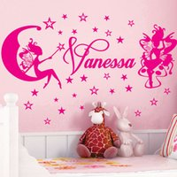 Wholesale Pink Fairy Wall Stickers - Custom Name Wall Stickers Cute Star the Fairy Removable Wallpapper 3D Art Vinyl Nursery Wall Decals for Kids Rooms Home Decoration Poster