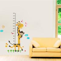Wholesale Children Height Measurement Sticker - stickers 6 Cute Children Kid Height Measurement Growth Chart Wall Sticker Cartoon Giraffe Animal Home Room DIY Decor Supplies 60*90cm