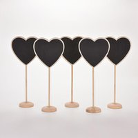 Wholesale White Stick Numbers - 10 pcs lot Lovely Mini Heart Wooden Chalkboard Blackboard on stick Place holder Table Number Wedding Gift