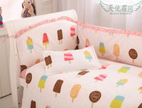 Wholesale Ice Cream Baby Set - Cute Ice cream pattern baby girl crib sets with bumpers children's nursery bedding BEST