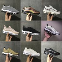 Wholesale Womens Gold Low Shoes - 2017 With Box Mens and Womens Shoes AIR 97 Gold Pink Silver Bullet x Skepta 3M Undefeated Running Shoes Sneakers Men Outdoor Shoes