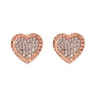 Wholesale Cute Heart Earrings - 2017 Hot heart stud Earrings For Women Girls Cute crystal Ear stud silver gold rose gold 3 color