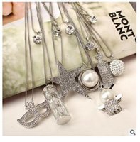 Wholesale Double Ended Charms - 10 Styles Wholesale Women Pendants Japan And Korean Version Of High-End Fashion Double Diamond Necklaces For Women