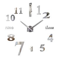ingrosso orologi di parete acrilico-All'ingrosso-2016 orologi 3d orologio horloge vendita nuovo diy specchio acrilico orologio da parete decorazione della casa al quarzo soggiorno moderno spedizione gratuita