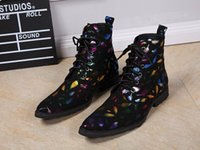Wholesale Motorcycle Boots Size 12 - Designer Fashion Forward Men High Top Leather Shoes Pointed Toe Feather Print Ankle Boot Black Man Martin Boot Size 11 12 Hombre Zapatos