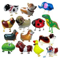 Wholesale toy seal animal - Walking Pet Animal Helium Aluminum Foil Balloon Automatic Sealing Kids Baloon Toys Gift For Christmas Wedding Birthday Party Supplies OTH071