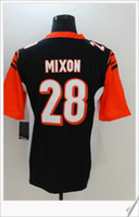 New Cincinnati couleur Rush Style # 28 Joe Mixon Football américain Collège cousu uniformes Broderie Chemises Mens Sports Pro Team Jerseys