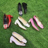 Wholesale Leather Shoes Nude Colour - Dress shoes classic newest same as shoppe original copy patent genuine leather heel high 4.5cm steady many colours to chooes size 35-40
