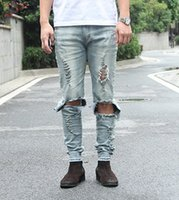 Wholesale Urban Fashion For Black Men - Skinny Ripped Jeans For Men Distressed Biker Black Jeans Swag hba yeezus kanye west tyga designer hip hop streetwear urban pants zipper des