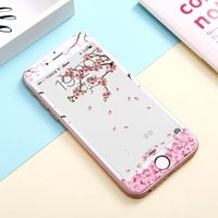Wholesale Iphone Girl Glasses - Full Coverage Flower Floral Tempered Glass For Iphone 6S 6 plus 3D Cherry Girl Front Screen Protector Soft Clear Cover Skin Package 10pcs
