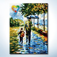 Wholesale Diy Infant Toys - Father And Me DIY Wall Art Painting Baby Toys 30x40cm Infant Canvas Oil Painting Drawing Wall Art for Hotel Decoration