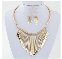 conjunto de collar colgante chapado en oro al por mayor-conjuntos de joyas de moda chapado en oro Claro Austria Cristales pendientes de gota y colgante collar de conjuntos de joyas