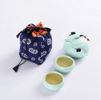 Ceramic Stocked 6 Outdoor travel bag mini portable travel bag Kung Fu tea set ceramic pot Quik one pot and two cups