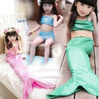 Wholesale Sequin Kids Tank Top - 2016 Girls Kids Swimwear Baby Girls Sequins Mermaid three pieces sets swimsuit tank top+skirt+short Cute Children Sleepwear Swiming Clothes