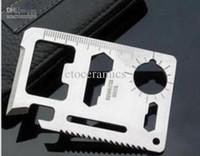 cuchillos militares envío gratis al por mayor-Multi Pocket Tools 11 en 1 supervivencia de la caza que acampa militar tarjeta de crédito cuchillo de alta calidad envío gratis 1000 unids / lote