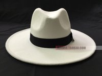 Wholesale men fedora black for sale - Group buy White hat fedoras mj hat