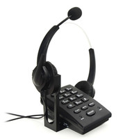 Wholesale Landline Telephone Corded - Call Center Corded Phone Dialpad Landline Telephones with Double Earphones Noise Cancellation Headset, PC Recording Function ideal forOffice