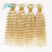 sarışın kıvırcık insan saç uzantıları toptan satış-9A Brezilyalı Derin Kıvırcık Sarışın İnsan Saç Örgüleri # 613 Platin Bleach Sarışın Saç 4 Paketler Lot Derin Kıvırcık Sarışın Saç Atkı Uzantıları