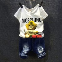 Wholesale denim boys - 2016 Children Sets Cartoon Bear White T Shirt Ripped Denim Shorts 2 Pieces Girls Clothing Sets Casual Summer Boys Clothing Sets