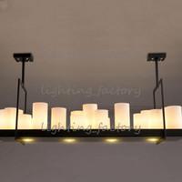 eisen-kronleuchter kerzen großhandel-Vintage Flush Mount Kreative Kerzenhalter Design Schmiedeeisen Kronleuchter für Foyer Restaurant Leuchte E27 Lampe