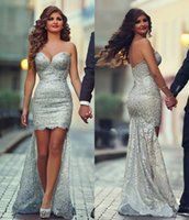 Wholesale Sweetheart Neckline Knee Length Dresses - 2017 Hi-Lo Beach Wedding Dresses with Sweetheart Neckline Sleeveless knee length Sweep Train Beaded Sequins Lace Simple Shiny Bridal Gowns