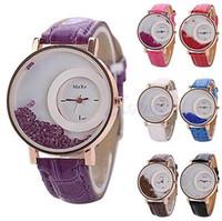 Wholesale Geneva Student Watches - Fashion Women Men Quicksand Faux Leather Band Bracelet Round Dial Analog GENEVA Wrist Watch Student Wristwatches